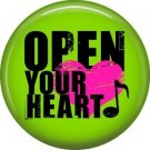 Open Your Heart on Neon Green Background, 1 Inch Pinback Punk Princess Button Badge Pin - 0380