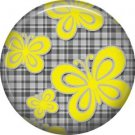 Yellow Butterflies on Gray Plaid Background, 1 Inch Pinback  Punk Princess Button Badge Pin - 0382