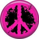 Hot Pink Distressed Peace Sign, 1 Inch Pinback Punk Princess Button Badge Pin - 0383