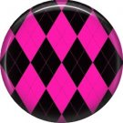 Hot Pink and Black Argyle Pattern, 1 Inch Pinback Punk Princess Button Badge Pin - 0386