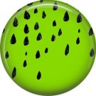 Black Rain Drops on Acid Green Background, 1 Inch Pinback  Punk Princess Button Badge Pin - 0388