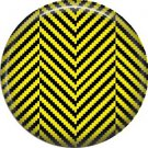 Yellow and Black Houndstooth in Chevron, 1 Inch Pinback Punk Princess Button Badge Pin - 0391