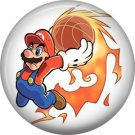 Mario Throwing Basketball on Fire, Video Games 1 Inch Pinback Button Badge Pin - 0763