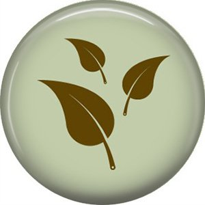 1 Inch Leaves on Green Background, Ecology Button Badge Pin - 1329