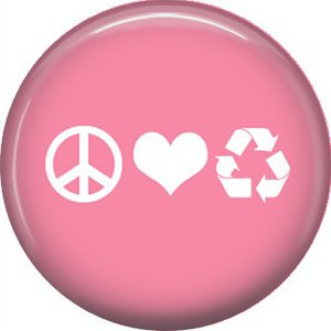 1 Inch Peace Love Recycle on Pink Background, Ecology Button Badge Pin - 1330