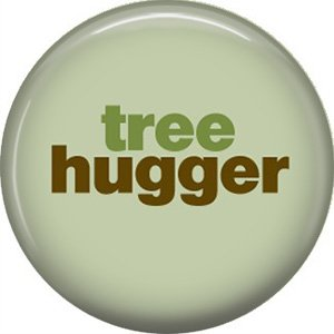1 Inch Tree Hugger on Green Background, Ecology Button Badge Pin - 1336