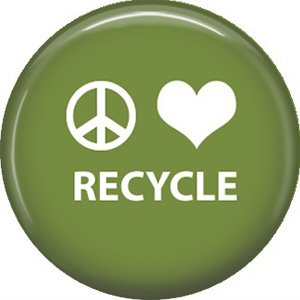 1 Inch Peace Love Recycle on Green Background, Ecology Button Badge Pin - 1337