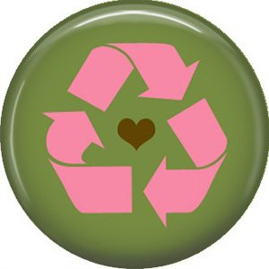 1 Inch Pink Recycle Symbol on Green Background, Ecology Button Badge Pin - 1342