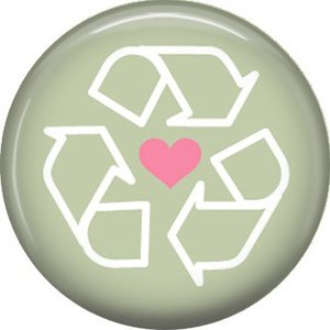1 Inch Recycle Symbol with Pink Heart on Green Background, Ecology Button Badge Pin - 1345