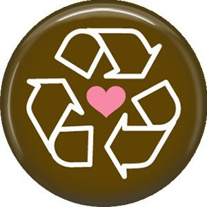 1 Inch Recycle Symbol with Pink Heart on Brown Background, Ecology Button Badge Pin - 1347