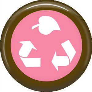 1 Inch Recycle Symbol with Leaf on Pink Background, Ecology Button Badge Pin - 1349