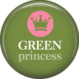 1 Inch Green Princess on Green Background, Ecology Button Badge Pin - 1357