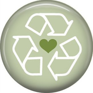 1 Inch Recycle Love on Green Background, Ecology Button Badge Pin - 1358