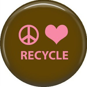 1 Inch Peace Love Recycle on Brown Background, Ecology Button Badge Pin - 1364