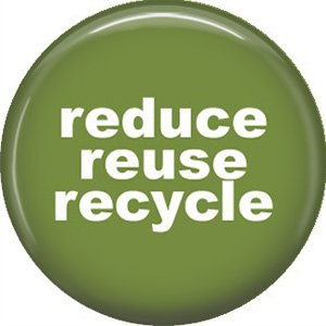 1 Inch Reduce Reuse Recycle on Green Background, Ecology Button Badge Pin - 1366