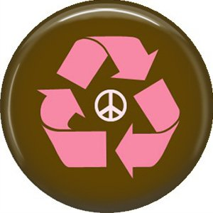 1 Inch Peace Sign with Pink Recycle Symbol on Brown Background, Ecology Button Badge Pin - 1368