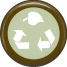 1 Inch Recycle Symbol with Leaf on Green Background, Ecology Button Badge Pin - 1370