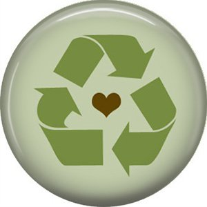 1 Inch Heart in Center of Recycle Symbol on Green Background, Ecology Button Badge Pin - 1372