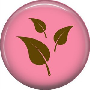 Green Leaves on Pink Background, 1 Inch Ecology Button Badge Pin - 1373