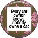 Every Cat Owner Knows Nobody Owns a Cat, Cat is Love 1 Inch Pinback Button Badge Pin - 6168