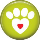 Cat Paw with Heart, Cat is Love 1 Inch Pinback Button Badge Pin - 6169