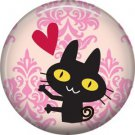 Cat with Heart, Cat is Love 1 Inch Pinback Button Badge Pin - 6190