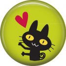 Cat with Heart on Green, Cat is Love 1 Inch Pinback Button Badge Pin - 6193
