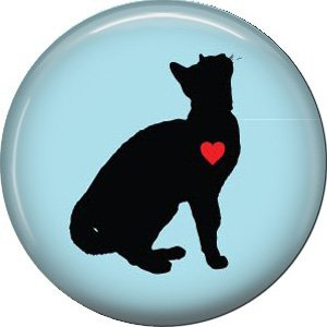 Cat with Heart, Cat is Love 1 Inch Pinback Button Badge Pin - 6194