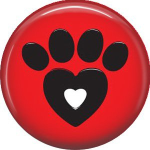 Cat Paw on Red, Cat is Love 1 Inch Pinback Button Badge Pin - 6197