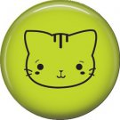Cat Face on Green, Cat is Love 1 Inch Pinback Button Badge Pin - 6201