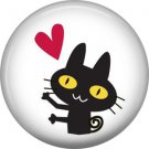 Cat with Heart, Cat is Love 1 Inch Pinback Button Badge Pin - 6203
