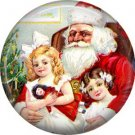 Children Sitting on Santa Claus Lap, Christmas 1 Inch Pin Back Button Badge - 1002