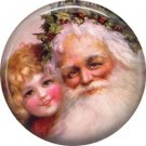 Pretty Little Girl with Santa, Christmas 1 Inch Pin Back Button Badge - 1005