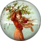 Bringing in the Holly, Christmas 1 Inch Pin Back Button Badge - 1006