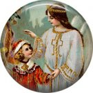 Little Girl with Guardian Angel, Christmas 1 Inch Pin Back Button Badge - 1008