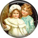 Two Girls, Christmas 1 Inch Pin Back Button Badge - 1012