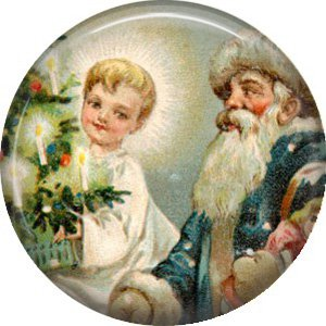 Santa with Boy, Vintage Christmas Scene 1 Inch Pin Back Button Badge - 1016