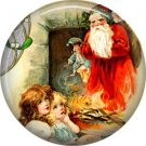 Excited Children See Santa, Vintage Christmas Scene 1 Inch Pin Back Button Badge - 1021