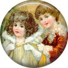 Children, Vintage Christmas Scene 1 Inch Pin Back Button Badge - 1024