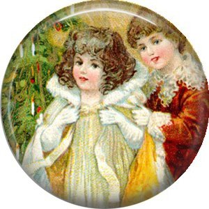 Children Near Tree, Vintage Christmas Scene 1 Inch Pin Back Button Badge - 1025