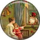 Santa Checking on Child, Vintage Christmas Scene 1 Inch Pin Back Button Badge - 1027