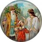 Ssnta with Child and Angel, Vintage Christmas Scene 1 Inch Pin Back Button Badge - 1029