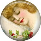 Christmas Dreams, Vintage Christmas Scene 1 Inch Pin Back Button Badge - 1032