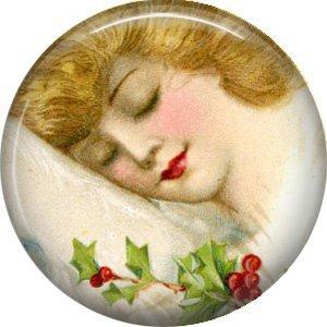 Christmas Dreams, Vintage Christmas Scene 1 Inch Pin Back Button Badge - 1032