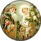 Around the Tree, Vintage Christmas Scene 1 Inch Pin Back Button Badge - 1033