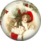 Lady in Red Hat, Vintage Christmas Scene 1 Inch Pin Back Button Badge - 1034