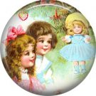 Children with Doll, Vintage Christmas Scene 1 Inch Pin Back Button Badge - 1035