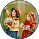 Children, Vintage Christmas Scene 1 Inch Pin Back Button Badge - 1039