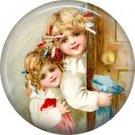 Girls, Vintage Christmas Scene 1 Inch Pin Back Button Badge - 1041
