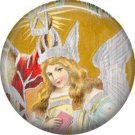 Angel, Vintage Christmas Scene 1 Inch Pin Back Button Badge - 1042